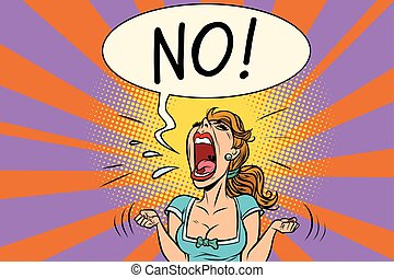 No furious screaming woman. Comic book cartoon pop art retro...