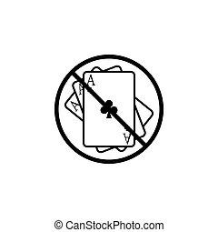 No gambling line icon, prohibition sign, forbidden
