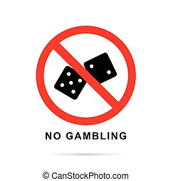 no gambling sign with black cubes