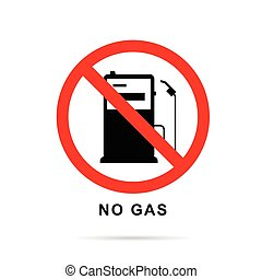 no gas sign with gasoline pump vector illustration