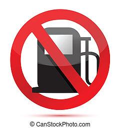 no gasoline. no fuel pump sign illustration design