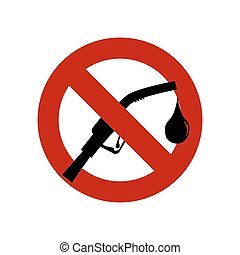 No Gasoline nozzle sign ban.No Gas station icon.