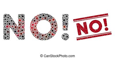 no!, gekraste, postzegel, rood, tekst, mozaïek, coronavirus