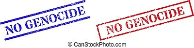 Grunge NO GENOCIDE rubber stamps in red and blue colors. Stamps have distress style. Vector rubber imitations with NO GENOCIDE text inside rectangle frame, or parallel lines.