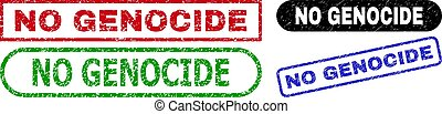 NO GENOCIDE grunge stamps. Flat vector grunge seal stamps with NO GENOCIDE caption inside different rectangle and rounded frames, in blue, red, green, black color versions.