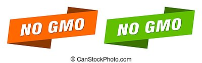 no gmo banner. no gmo ribbon label sign set