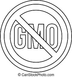 No GMO sign icon, outline style