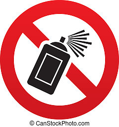 No Graffiti spray sign icon. Aerosol paint symbol - No...