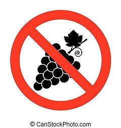 No Grapes sign illustration.