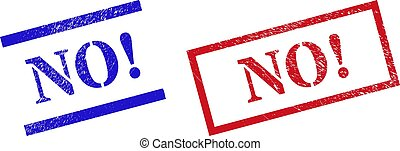 NO! Grunge Scratched Seal Stamps with Rectangle Frame
