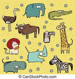 no., grunge, verzameling, 4, afrikaan, dieren