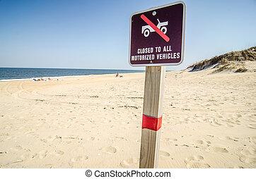no, guida, su, segno spiaggia