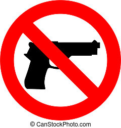 No Guns - Guns forbidden sign isolated over white background