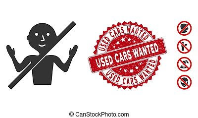 No Guru Icon with Textured Used Cars Wanted Stamp