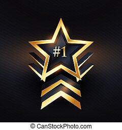 no., gwiazda, zwycięzca, etykieta, 1, wektor, projektować, twórczy