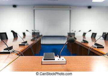 no, habitación de reunión, vacío, gente