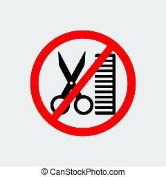 No Hairdresser Sign. Vector Illustration