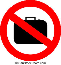 No hand baggage vector sign isolated on white