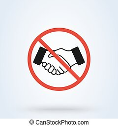 No handshake icon with red forbidden sign isolated on white background. symbol vector illustration