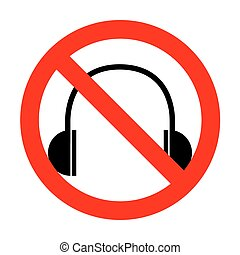 No Headphones sign illustration.