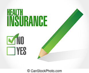 no Health Insurance check sign concept