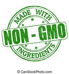 no, hecho, gmo, ingredientes, estampilla, -