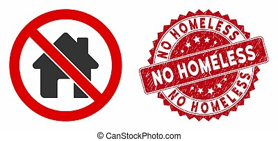 No Home Icon with Grunge No Homeless Stamp