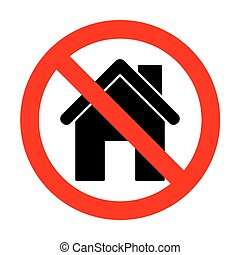 No Home silhouette illustration.