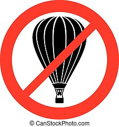 no hot air balloons sign (not allowed sign, prohibition icon)