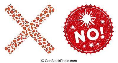 no!, icône, gratté, mosaïque, coronavirus, timbre, annuler