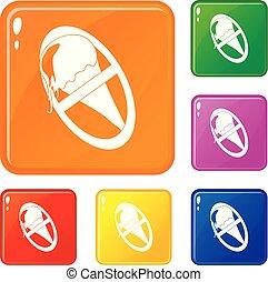 No ice cream icons set vector color