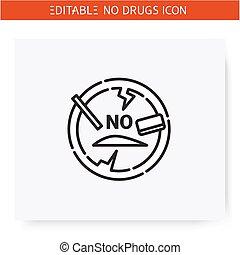 no, icon., línea, editeble, ilustración, cocaína