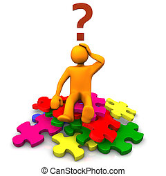 Orange cartoon on the multicolored puzzles an big question mark.
