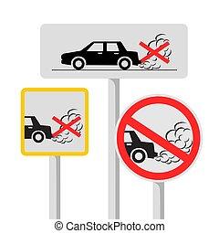 no idling road sign symbol