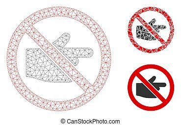 No Index Finger Vector Mesh Wire Frame Model and Triangle Mosaic Icon