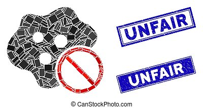 No Infection Mosaic and Grunge Rectangle Unfair Stamp Seals