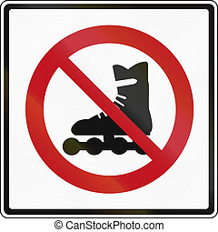 Regulatory sign in Canada - No inline skating. This sign is used in Ontario.