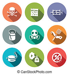 No insects flat icon collection - No insects icon set on a...