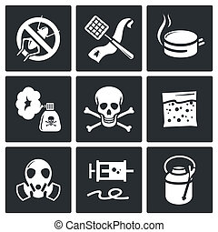 No insects icon set on a black background
