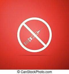 no, jeringuilla, fondo., signo., vacuna, vector, aislado, design., icono, plano, ilustración, rojo