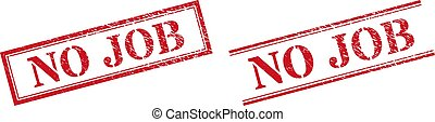 NO JOB Grunge Scratched Stamp Watermarks with Double Rectangle Frame