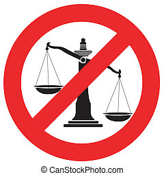 Prohibition traffic sign no justice, Unfairness In Thailand, Vector, Illustration