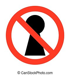 No Keyhole sign illustration.