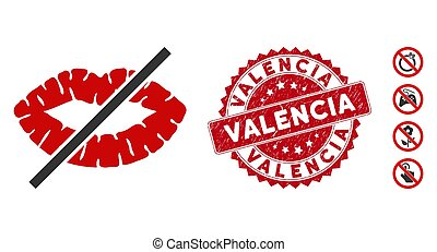 No Kiss Icon with Distress Valencia Seal