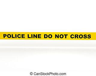 no, línea, policía, cruz
