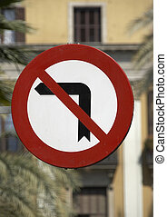 No Left Turn - A no left turn road sign photographed in...