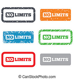 No limit sign icon. Unlimited symbol. Retro Stamps and...
