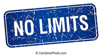 no limits blue square grunge textured isolated stamp
