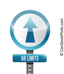 no limits road sign illustration design