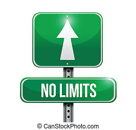 no limits road sign illustration